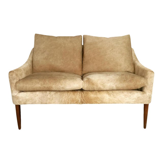 Forsyth One of a Kind Danish Loveseat in Brazilian Cowhide For Sale
