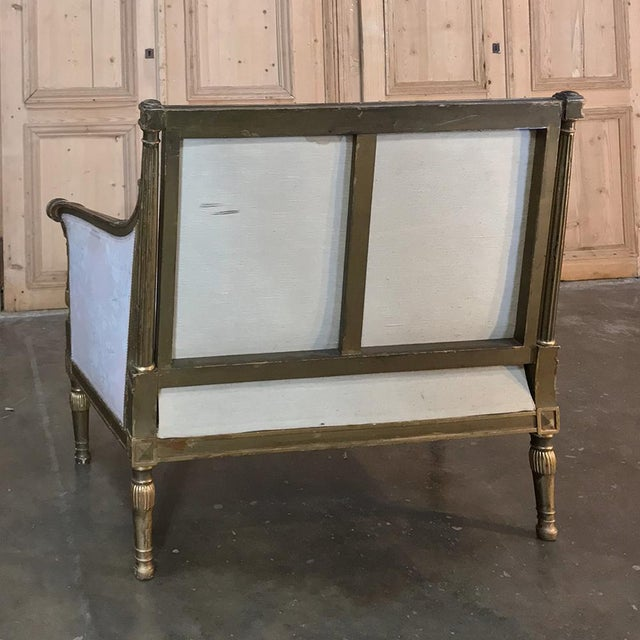 19th Century Italian Gilded Neoclassical Chair & a Half For Sale - Image 10 of 11