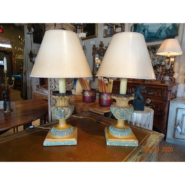 19th Century Italian Hand Carved Acanthus Motif Lamps - a Pair For Sale - Image 10 of 10