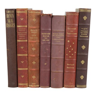 Leather-Bound Books S/7 For Sale