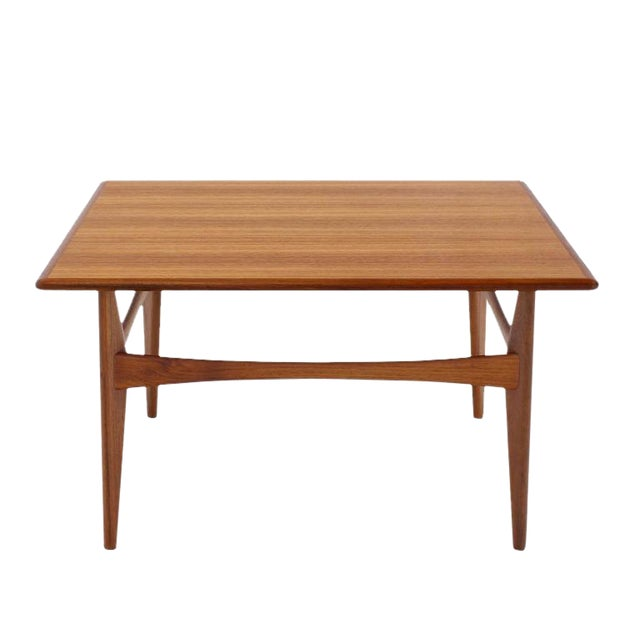 Danish Mid-Century Modern Teak Square Coffee Side Table For Sale