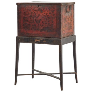 1860s English Tea Box With Inlay on Stand For Sale