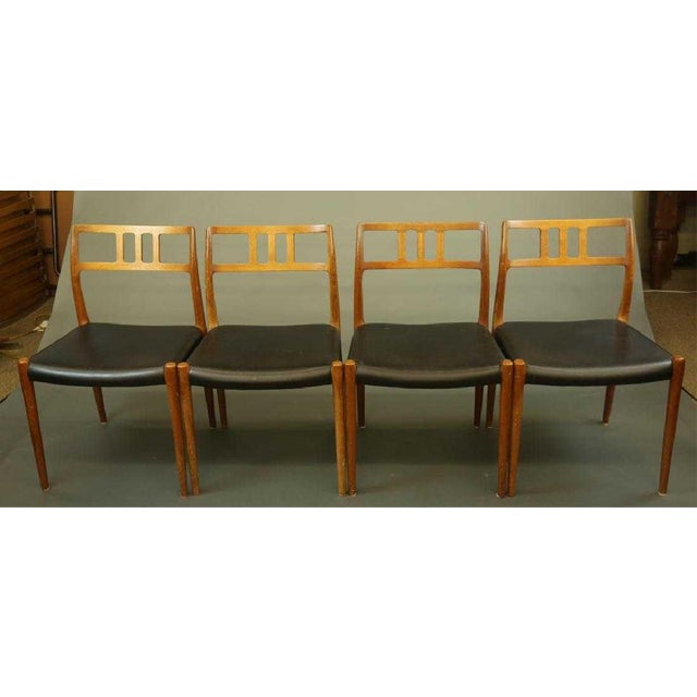 Nice set of 4 teak dining chairs (Model 79) designed by Niels O. Møller for Møller Møbelfabrik in 1960's. Chairs are...
