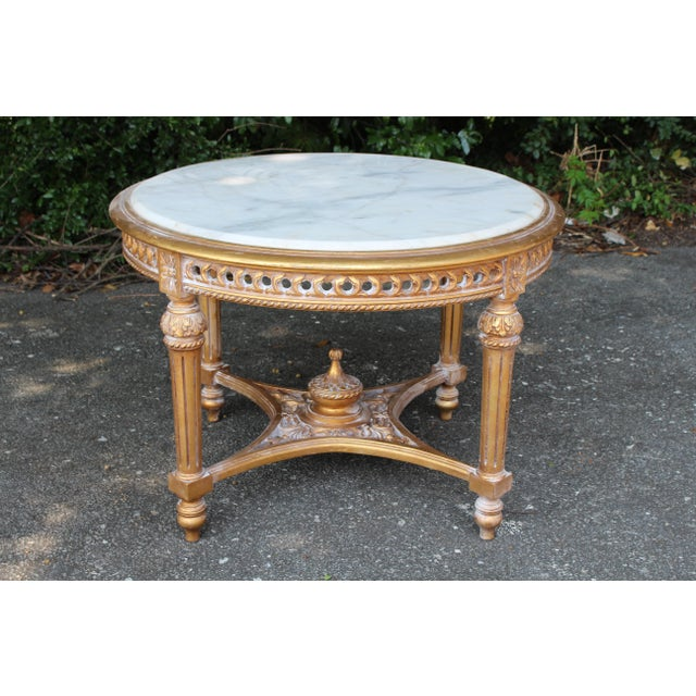 Carrara Marble 20th Century Louis XVI Accent Table With Marble Top For Sale - Image 7 of 7