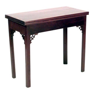 English Georgian Style Mahogany Flip Top Console Table For Sale