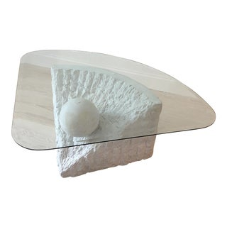 Modern Sculpted Plaster and Glass Coffee Table For Sale
