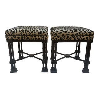 Vintage Henredon Bamboo Ottomans in New Schumacher Epingle Cheetah For Sale