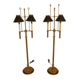 Chapman Brass Floor Lamps With Black Tole Shades - a Pair