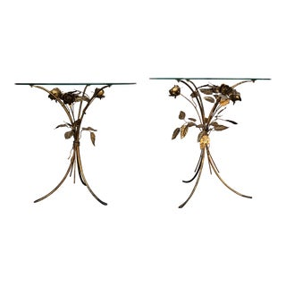 Hollywood Regency Gilt Rose Side Tables by Hans Kögl - a Pair For Sale
