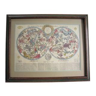 1960s Vintage Planisfero Del Globo Celeste Celestial Map By Franco Brunacci For Sale