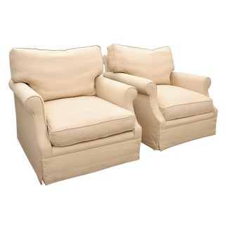 Vintage Contemporary French Style Linen Sofa Chairs- a Pair For Sale
