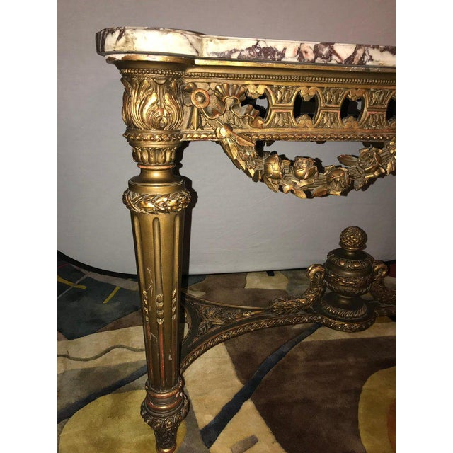 Giltwood French Louis XVI Style 19th Century Giltwood Marble-Top Centre Table For Sale - Image 7 of 13
