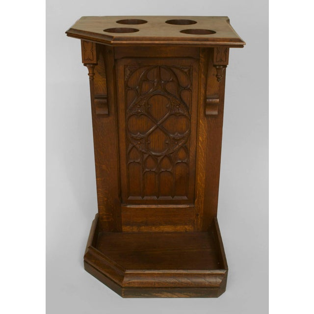 Turn of the Century English Gothic Carved Oak Umbrella Stand For Sale - Image 4 of 4