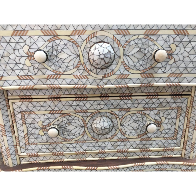Fabulous Middle Eastern Syrian handcrafted white wedding dresser with two drawers, wood inlay with mother-of-pearl, shell,...