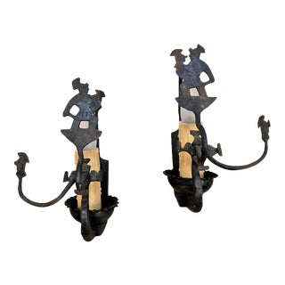 Antique Rustic Wrought Iron Wall Sconces - a Pair For Sale