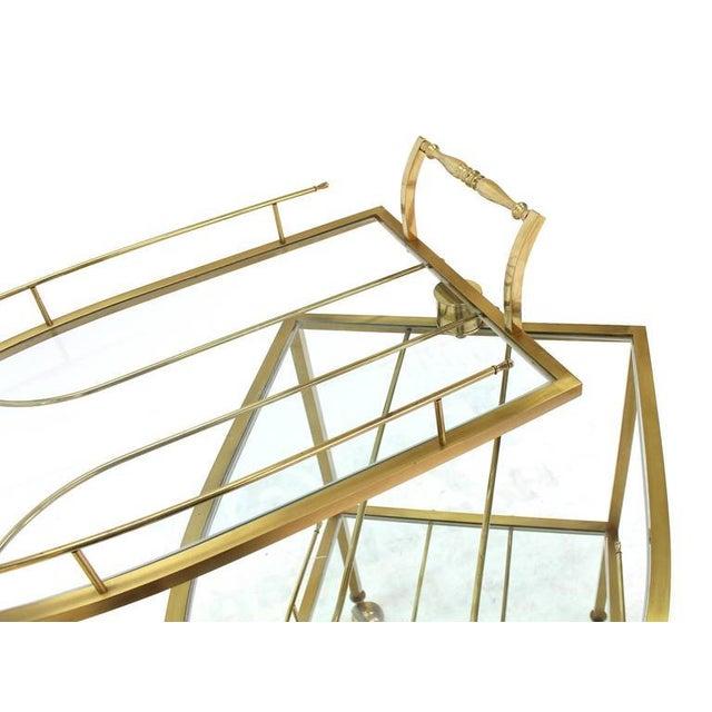 Brass Unusual Iron Shape Folding Brass Tea Cart For Sale - Image 7 of 10