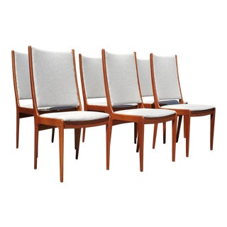 1960s Vintage Johannes Andersen Highback Dining Chairs- Set of 6 For Sale
