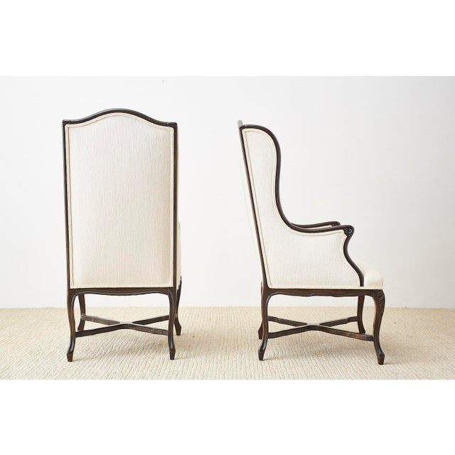 French Louis XV Style Carved Wing Chairs - a Pair For Sale - Image 12 of 13