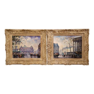 Pair of Mid-20th Century French Paris Paintings in Carved Frames Signed L. Dali