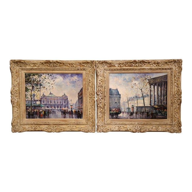 Pair of Mid-20th Century French Paris Paintings in Carved Frames Signed L. Dali For Sale