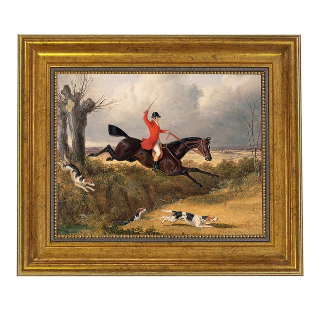 English Traditional Clearing the Ditch Fox Hunting Horse Framed Oil Painting Print on Canvas For Sale - Image 3 of 3