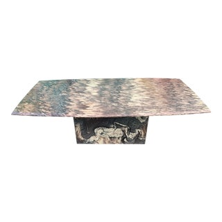 80's Marble Pedestal Coffee Table For Sale