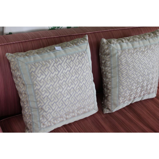 """Silk """"Greek Key"""" Down Pillows in Beige/Taupe With Light Green Embroidered Trim - a Pair For Sale - Image 9 of 13"""