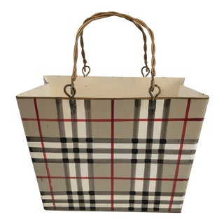 Vintage Burberry Style Metal Basket For Sale