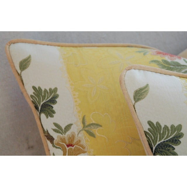Custom Scalamandre Silk Lampas Pillows - Pair - Image 8 of 11
