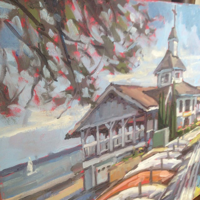 "Bright, Multicolored ""Lakeside Pavilion"" Original Oil Painting - Image 10 of 11"