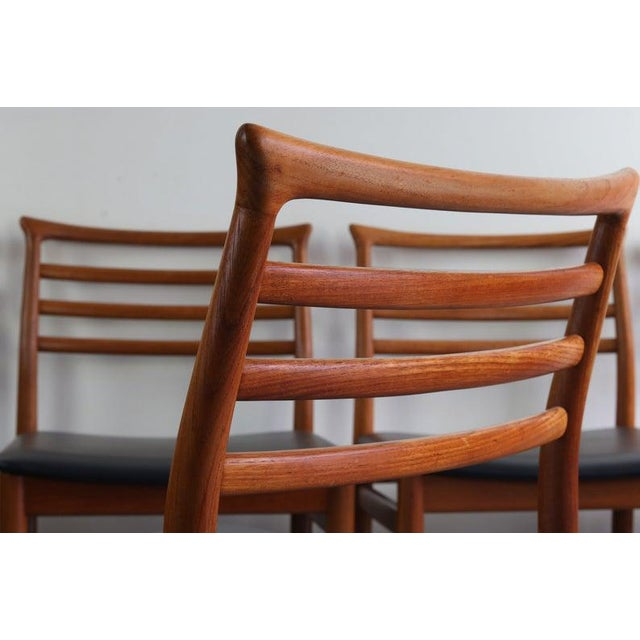 1960s Danish Modern Erling Torvits Dining Chairs in Teak w/ Black Leather Seats, Denmark For Sale - Image 5 of 6
