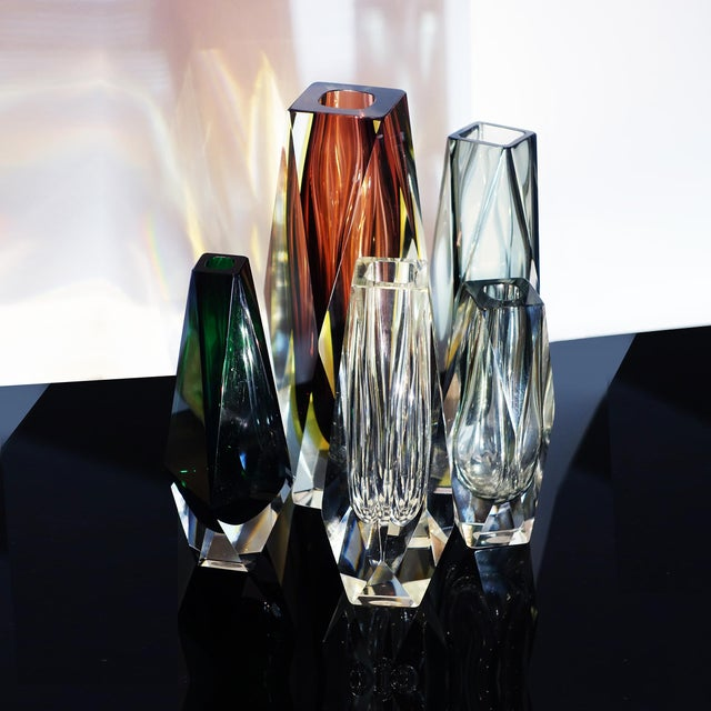 Murano Gray Faceted Cased Glass Block Vase Sculpture For Sale In New York - Image 6 of 8