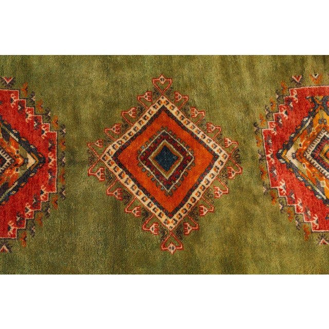 Islamic Vintage Moroccan Tribal Green and Orange Rug For Sale - Image 3 of 9