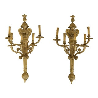 Pair French Style Solid Brass 5 Light Wall Sconces For Sale