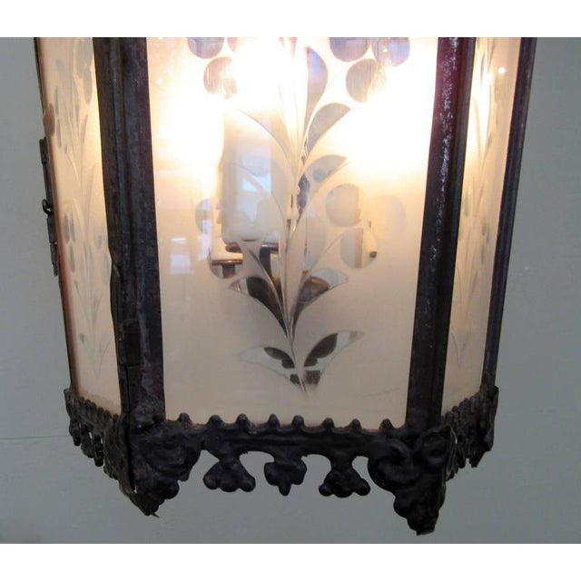 Mid-19th Century New Orleans Gothic Ebonized Brass Lantern For Sale - Image 5 of 7