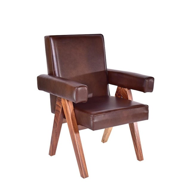 Mid-Century Modern Inspire Leather Dining Chair - Image 1 of 3