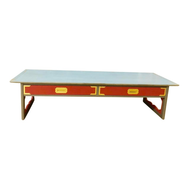 1960s Contemporary Gray & Coral Coffee Table For Sale
