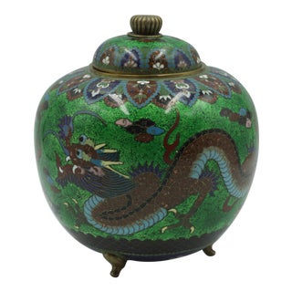 1870 Japanese Cloisonné Meiji Period Green Dragon Footed Ginger Jar For Sale