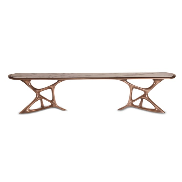 Gold Amorph Custom Anika Console Table, Bronze Finish With White Marble Stone For Sale - Image 8 of 10