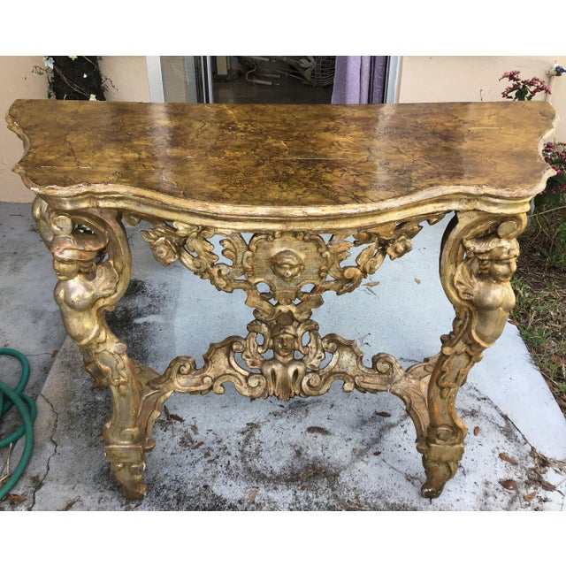 18th Century Itlian Baroque Silver Gilt Console Table For Sale - Image 10 of 10