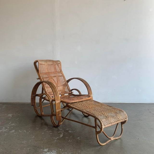 Woven Cane Lounge Chair with Pull Out Foot Rest For Sale - Image 13 of 13