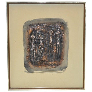 Charles Ware Mid-Century Modern Figural Oil Painting C.1969 For Sale