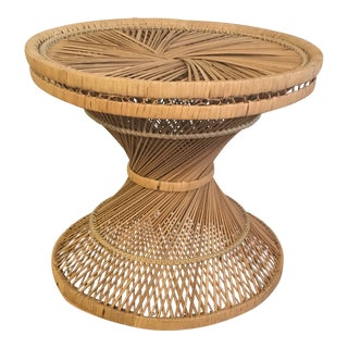 1960s Vintage Rattan Hourglass Table For Sale