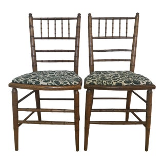 Antique Wooden Chiavari Faux Bamboo Side Chairs - a Pair For Sale