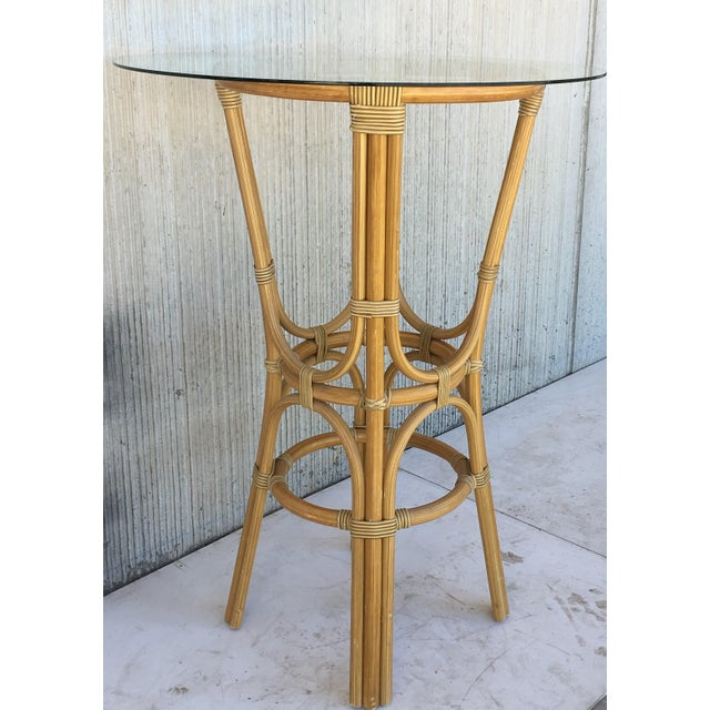 Mid-Century Modern 20th Century Set of Four High Round Cocktail Table in Faux Bamboo With Glass Top For Sale - Image 3 of 11