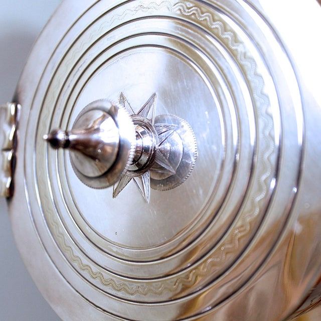 19th Century Silver Plate Biscuit Box, Handsomely Engraved For Sale - Image 4 of 7