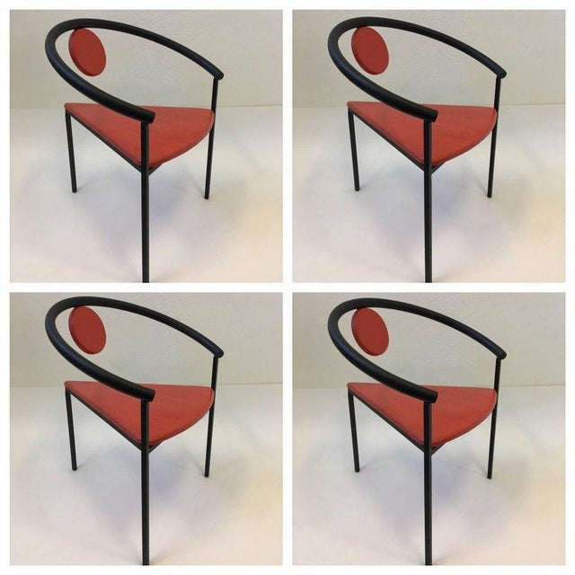 Memphis Group Set of Four Tripod Memphis Dining Chairs in the Manner of Michele de Lucchi For Sale - Image 4 of 11