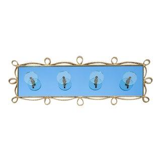 Pierluigi Colli Coatrack Wall Wardrobe Iron Blue Glass Mirror, Italy 1950