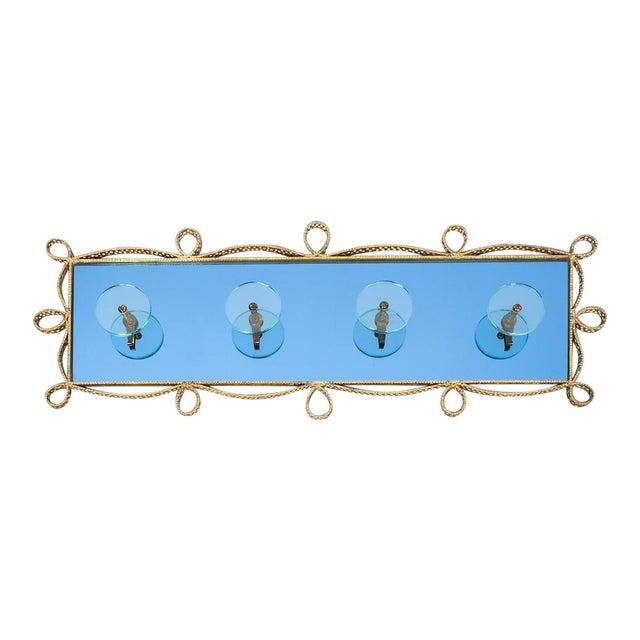 Pierluigi Colli Coatrack Wall Wardrobe Iron Blue Glass Mirror, Italy 1950 For Sale