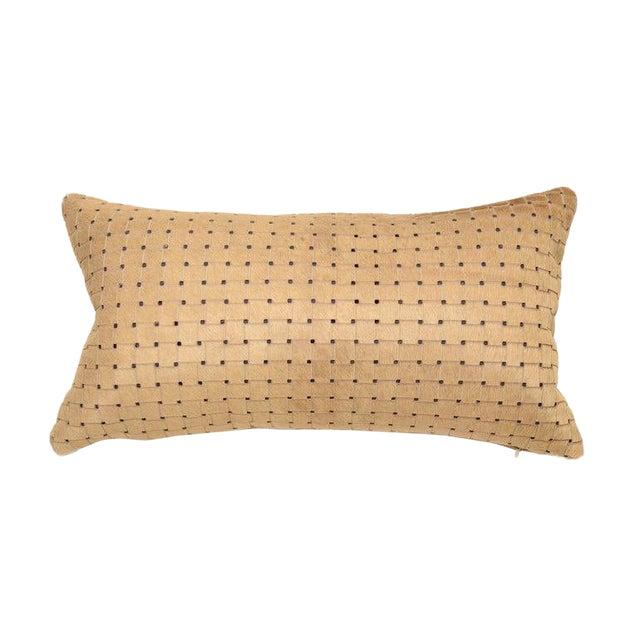 Contemporary Beige Laser Cut Cowhide Lumbar Pillow For Sale